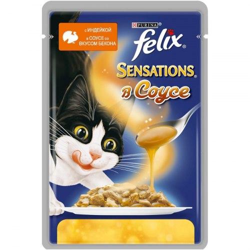 Консерва В НАЛИЧИИ Felix Sensations с индейкой в соусе со вкусом бекона, 85 г