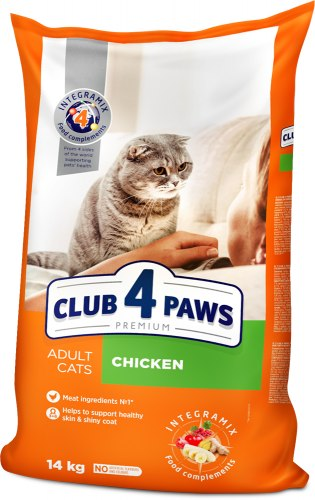 Сухой корм Club 4 Paws 14кг для взрослых кошек с курицей