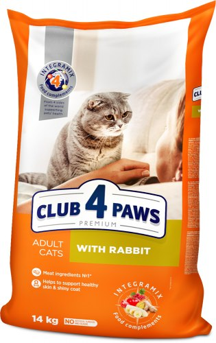 Сухой корм Club 4 Paws 14кг для взрослых кошек с кроликом
