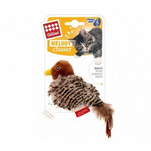 """Игрушка Gigwi для кошек """"Птичка"""", со звуковым чипом, с кошачьей мятой, плюш, 13 см"""