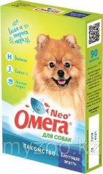 Лакомство Омега Нео для собак блестящая шерсть, 90 таб