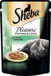 Консерва Sheba Pleasure для взрослых кошек. Ломтики в соусе. Курица и кролик.85г