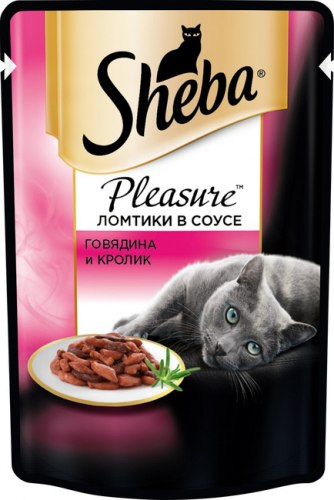 Консерва Sheba Pleasure для взрослых кошек. Ломтики в соусе. Говядина и кролик.85г
