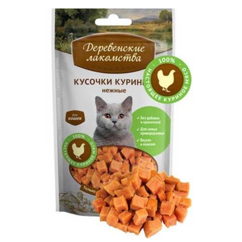 Кусочки Деревенские лакомства куриные нежные для кошек, 45г