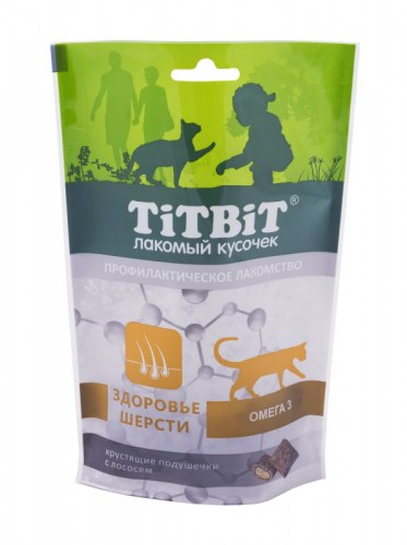 Хрустящие подушечки TiTBiT с лососем для здоровой шерсти, 60г