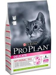 Сухой корм Pro Plan DELICATE для взрослых кошек с чувствительным пищеварением, с ягненком 3 кг