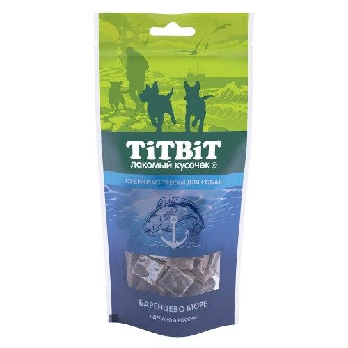 Лакомство TiTBiT кубики из трески для собак, 75г