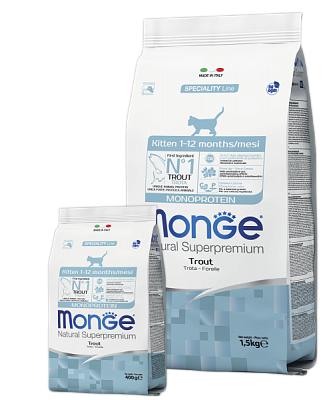 Сухой корм монопротеиновый Monge KITTEN TROUT 1,5 кг