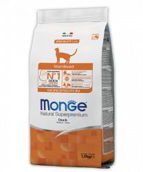 Сухой корм монопротеиновый Monge CAT Sterilized Duck 10 кг