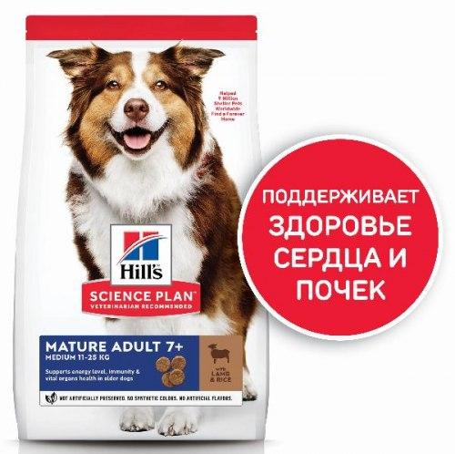 Сухой корм Hill's Science Plan для пожилых собак (7+)средних пород, с ягненком и рисом 2,5 кг