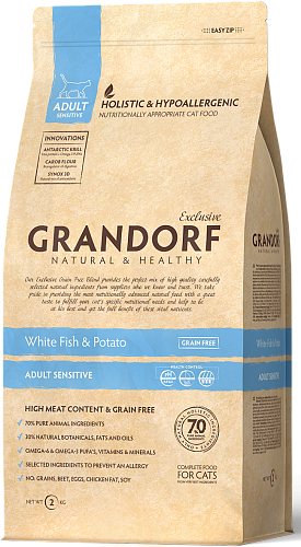 Сухой корм Grandorf CAT White Fish&Potato SENSITIVE 2 кг.