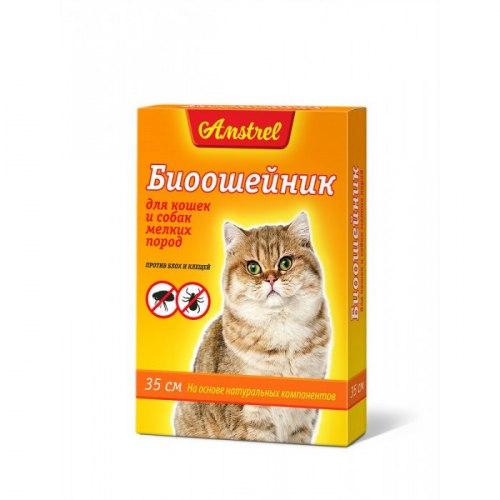 Биоошейник Amstrel оранжевый, для кошек и мелких собак, 35 см