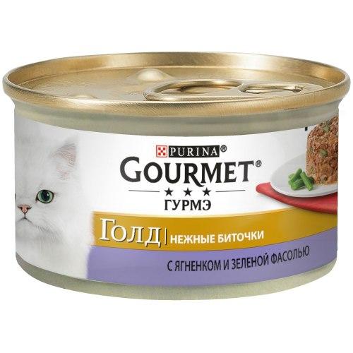 Консерва Gourmet Gold нежные биточки, с ягненком и зеленой фасолью, 85