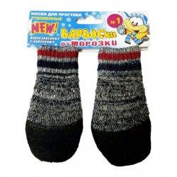 Носки БАРБОСки от МОРОЗКИ для прогулки, утепленные, прорезиненные, с липучками. Цвет - Серый.