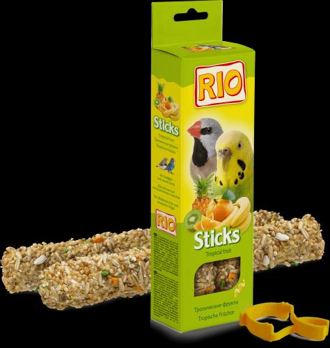 Палочки RIO для волнистых попугаев и экзотических птиц с тропическими фруктами, 2*40г