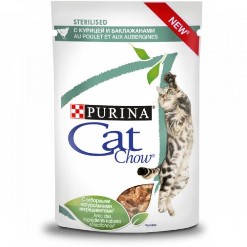 Влажный корм Cat Chow для стерилизованных кошек, с курицей и баклажаном в соусе, 85г*24шт