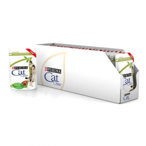Влажный корм Cat Chow для стерилизованных кошек, с ягненком и зеленой фасолью в соусе, 85г*24шт