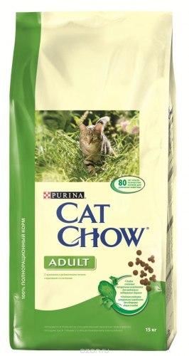 Сухой корм Cat Chow Cat Chow для взрослых кошек (кролик / печень) - 15 кг