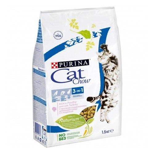 Сухой корм Cat Chow Cat Chow для кошек Feline 3 в 1 - 1,5 кг