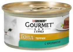 Влажный корм GOURMET Gold паштет с кроликом, 85г