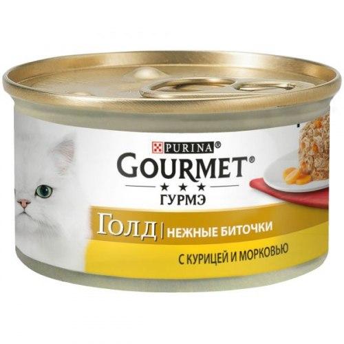 Влажный корм GOURMET Gold нежные биточки курица с морковью, 12шт*85г