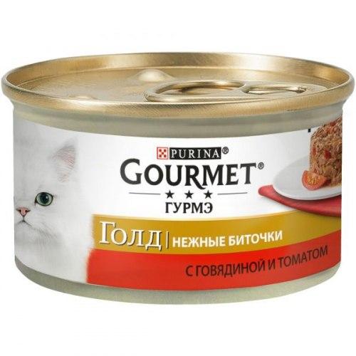 Влажный корм GOURMET Gold нежные биточки говядина и томаты, 12шт*85г