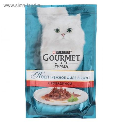 Влажный корм GOURMET PERLE с говядиной, мини - филе в поливе, 24шт*85г