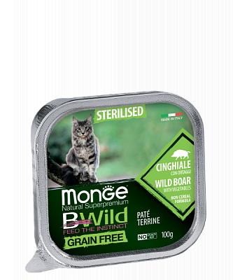 Влажный корм Monge CAT BWILD Sterilised Boar/veg. 8шт*100г