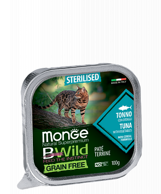 Влажный корм Monge CAT BWILD Sterilised Tuna/veg. 8шт*100г