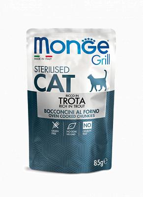 Влажный корм Monge CAT GRILL POUCH Sterilised Trout 85г