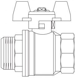 "Optibal шар. кран, маховик из алюминия Oventrop Ду15, G 1/2""ВР, G 1/2""НР, PN20, PN16, латунь"