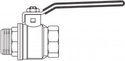 "Optibal шар. кран с рычажной рукояткой Oventrop Ду15, G1/2""ВР, G1/2""НР, PN20, PN16, латунь"