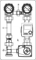 Система обвязки котла Regumat M3-180 Oventrop без насоса, с универсальной изоляцией