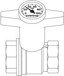 """Кран шаровой """"Optibal"""" с термометром Oventrop с маховиком, с обеих сторон ВР, 1/2"""""""