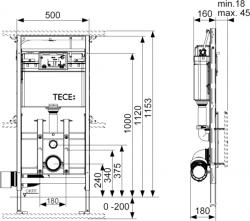 Инсталляция с регулировкой по высоте TECE Tecelux 200