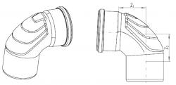 Отвод длинный бесшумный Ду110 Rehau Raupiano Plus