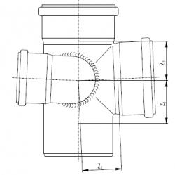 Разнопроходная крестовина с увеличенным проходом справа Rehau Raupiano Plus