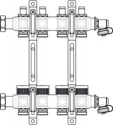 """Гребенка на 2 контура с регулирующими вставками на подаче Oventrop Multidis SF 1"""""""