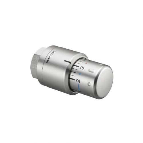 """Термостат """"Uni SH"""" Oventrop 7-28 C, шкала 0 * 1-5, жидкост. чувств. эл-т, дизайн матовая сталь"""