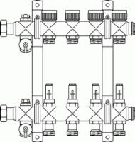 """Гребенка """"Multidis SF"""" 1"""" для панельного отопления и охлаждения Oventrop на 4 контура, 0-5 л/мин, из нержавеющей стали"""