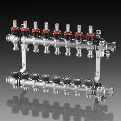 """Гребенка """"Multidis SF"""" 1"""" для панельного отопления и охлаждения Oventrop на 6 контуров, 0-5 л/мин, из нержавеющей стали"""