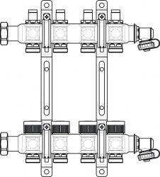 """Гребенка на 3 контура с регулирующими вставками на подаче Oventrop Multidis SF 1"""""""