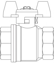 """Optibal шаровой кран, маховик из алюминия Oventrop Ду15, G1/2""""ВР, PN20, PN16, латунь"""