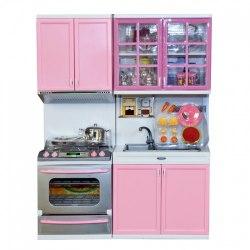 Кухня кукольная со световыми и звуковыми эффектами, розовая 3 QunFengToys 26214P