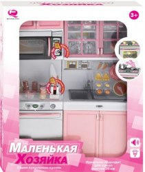 Кухня кукольная со световыми и звуковыми эффектами, Маленькая хозяюшка 5 (розовая) QunFengToys 26216Р/R