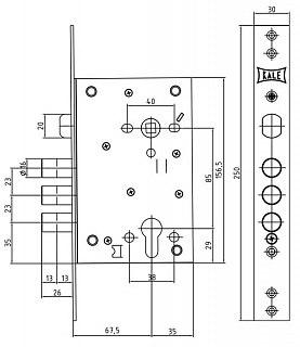 Корпус замка врезного цилиндрового KALE KILIT 442 w/b