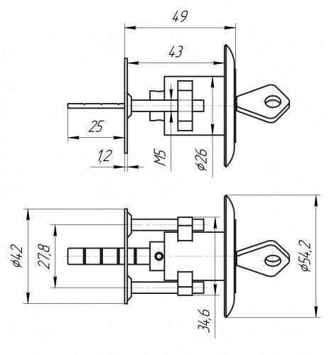Механизм цилиндровый для накладного замка Зенит МЦ10-6
