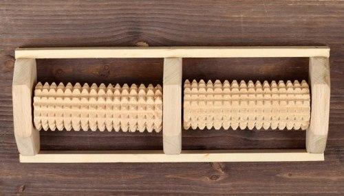 Массажер деревянный для двух стоп, 2 валика ТИМБЭ