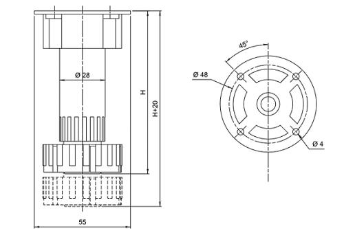 Опора кухонная регулируемая черная 85*130мм AMIX 14.257
