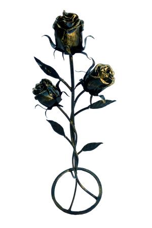 Роза с тремя бутонами на круглой подставке